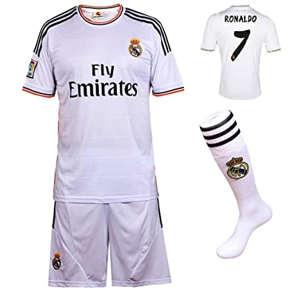2013 2014 FC Real Madrid Home Ronaldo  7 Football Soccer Kids Jersey with  FREE 9c7e6e00e