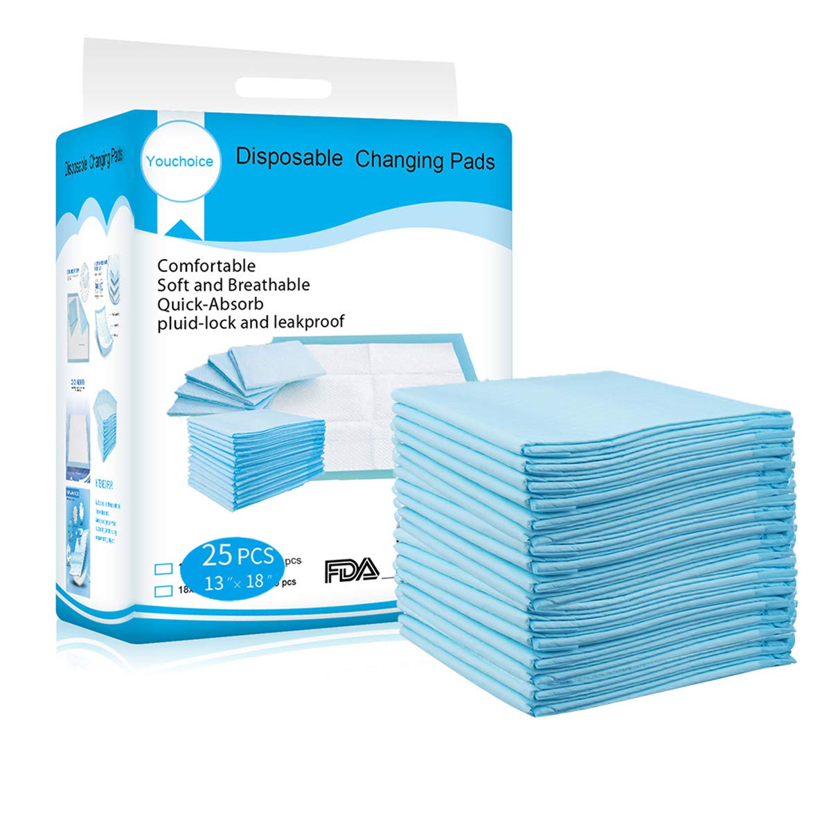 Disposable Changing Pads Mats, Soft and Waterproof Leak-Proof Breathable Disposable Underpads for Baby (18Lx13W,25Pads) by Youchoice