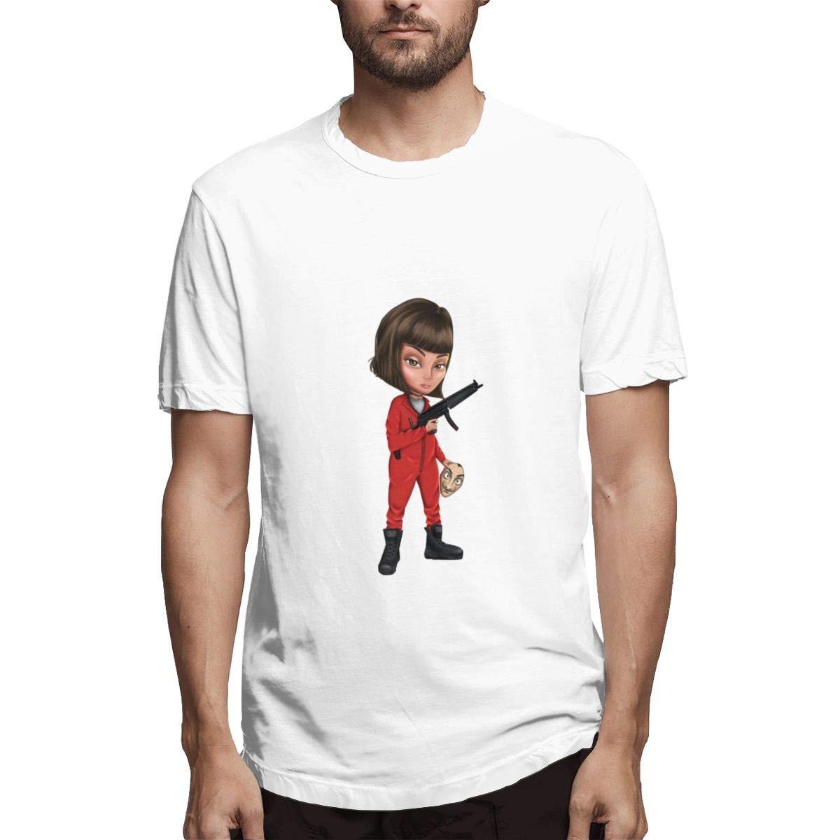 QINSHAONI La-Casa-de-Papel Teenagers Boy Retro Fashion Printed Letters Cartoon Pattern Comfortable Light T-Shirt Tee 6XL