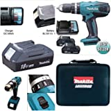 Makita Cordless 18 V Combi Drill Set with Battery, Charger and Case