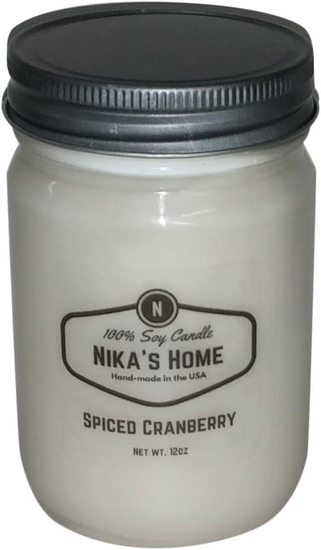 Nika's Home Spiced Cranberry Soy Candle - 12oz Mason Jar