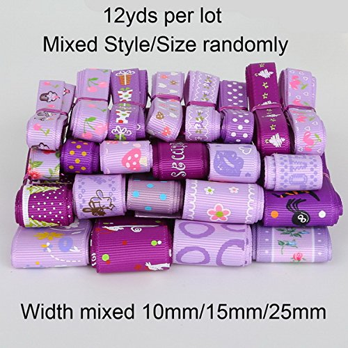 Grosgrain Ribbon - Wrapping Ribbon - Trendy Grosgrain Satin Ribbon random mixed Size/Style for Wedding Party Christmas Decoration DIY Gift Craft 12y/lot (1y/style) (random mixed 1 purple)