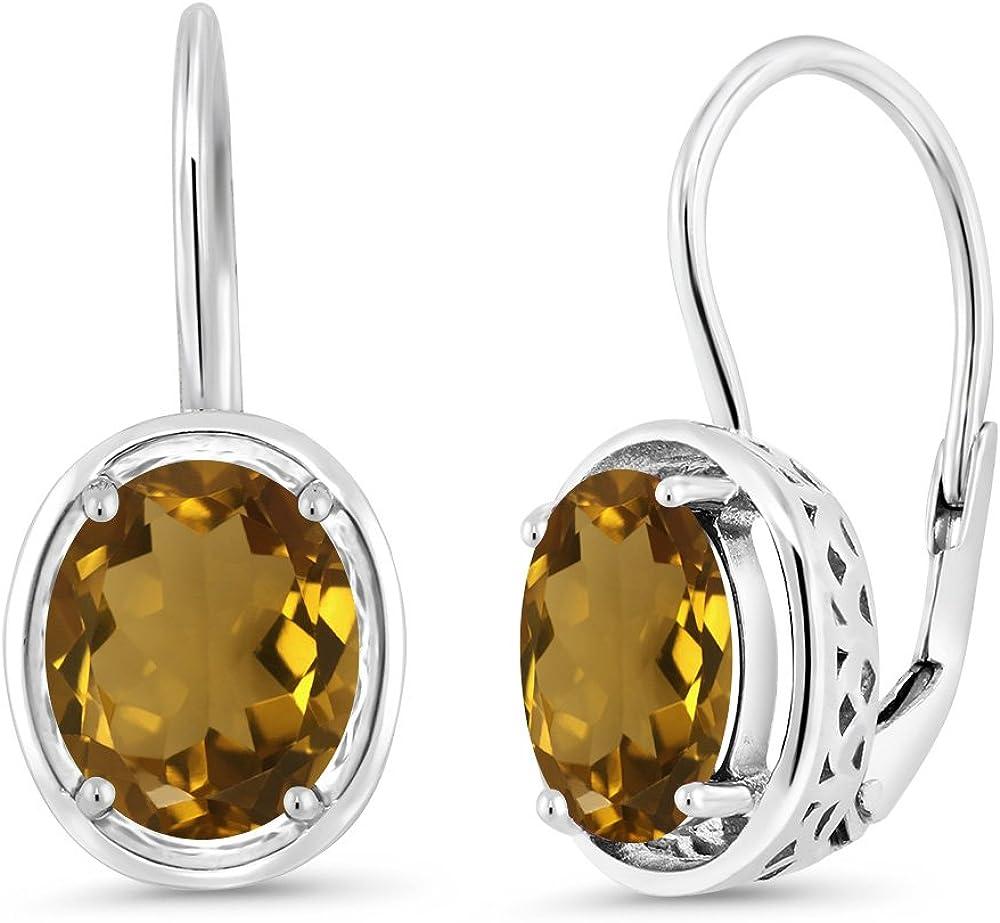 Sterling Silver with 14k Whiskey Quartz Earrings
