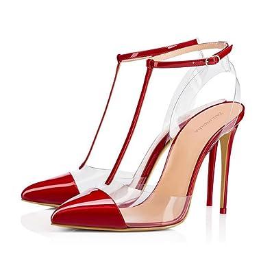 XDGG Femmes Transparent Rivet À Talons Hauts PVC Sandales Grande Taille Rivet Boucle En Cuir Couture Pointu Toe Chaussures Seules 40-46,Red,46