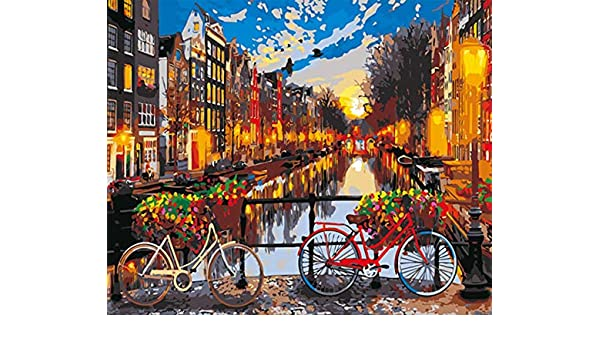 pzmolpq Night City DIY Painting by Numbers Abstract Bridge Cycling ...