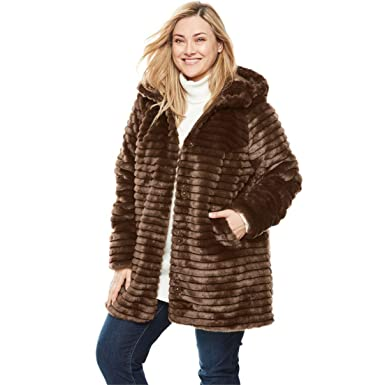 a3ae3f573be Woman Within Plus Size Faux Fur Coat - Chestnut