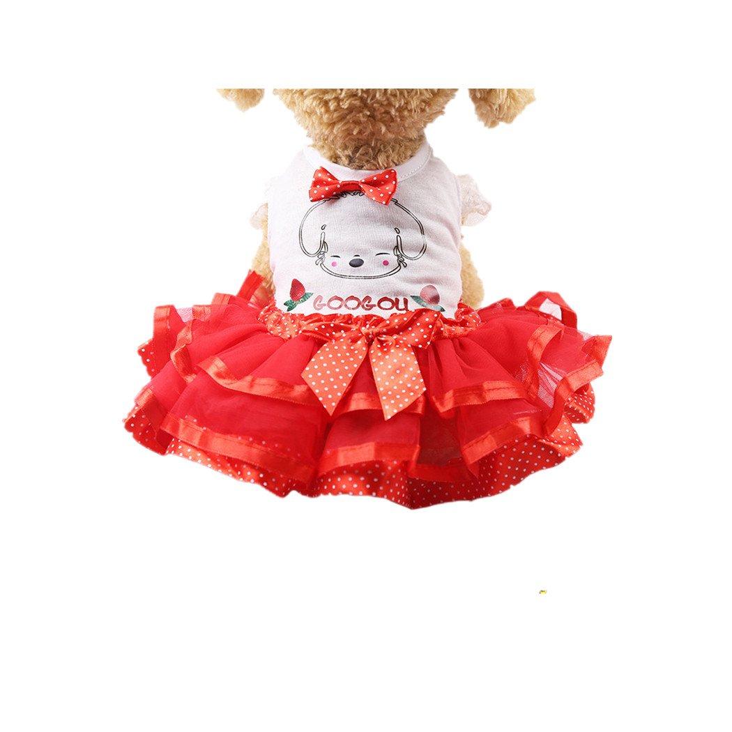 BYSTE Vestiti Animale domestico Cucciolo Estate Bowknot Camicia Piccolo cane Gatto Gilet Gonna Maglietta Tutu T-Shirt Top Vestito da principessa per Cane Abito da sposa