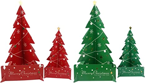 Mesa Árbol de Navidad, Coxeer 4 Pack Mini árbol de Navidad Mini árbol de Navidad mesa centro de mesa de papel en 3d para decoración del hogar: Amazon.es: Deportes y aire libre