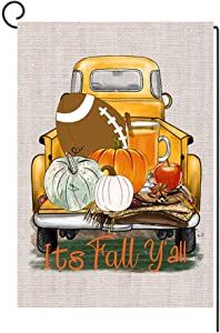 Mimacoo Its Fall Y'all Pumpkin Truck Garden Flag Vertical Double Sided,Seasonal Autumn Thanksgiving Garden Yard Banner Lawn Outdoor Decoration 12.5 x 18 Inch