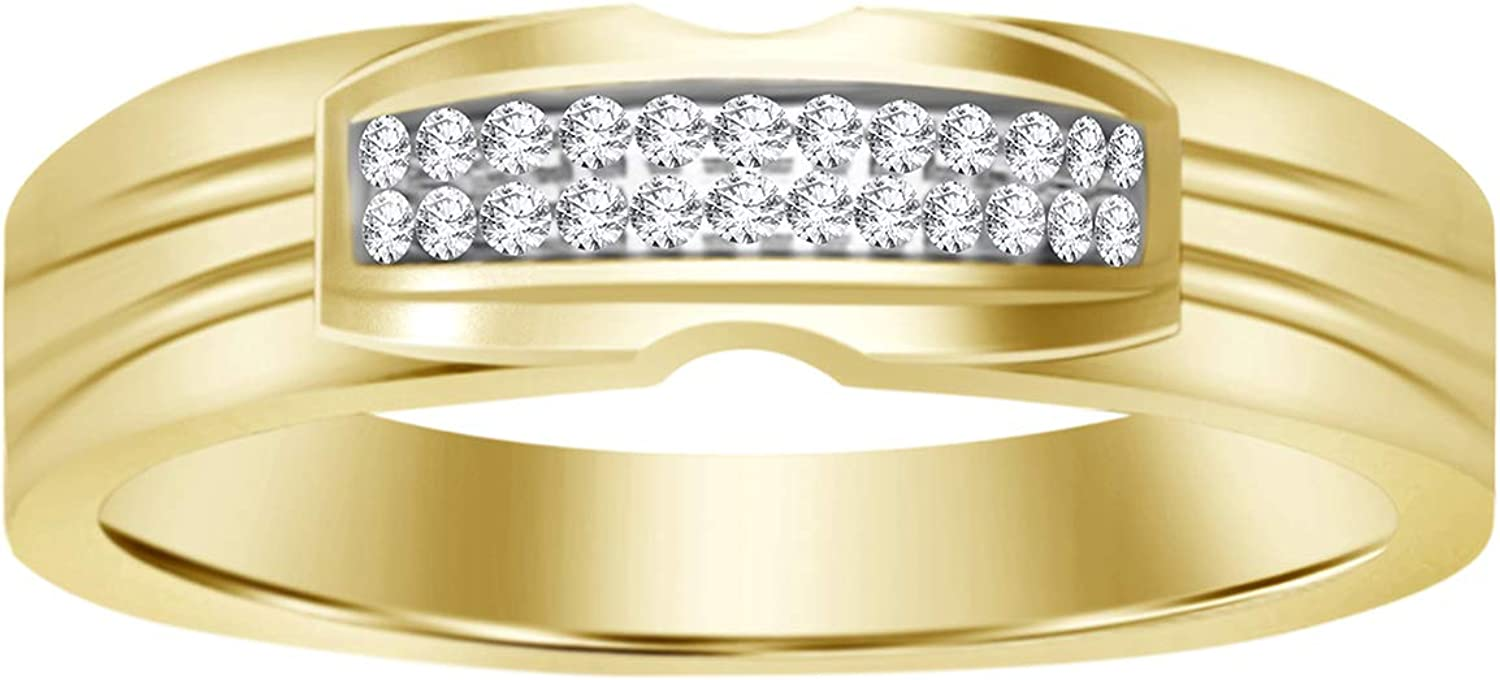 Eternal Bliss Round Diamond Accent 10K Solid Yellow Gold Men's Wedding Band Ring (0.03 cttw, Color - I-J, Clarity -I2)