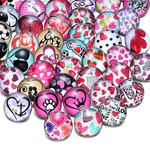 Mixed Acrylic Pattern & Styles Charms 18Mm Glass Snap Button | for Bracelet Snaps Jewelry (50Pcs/Lot) (KZHM070)