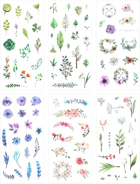 Flowers Scrapbooking Stickers Set for Diary Bullet ...