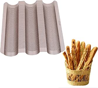VV's AU 3 Slot Perforated Nonstick Carbon Steel French Bread Baking Tray Baguette Baking Pans - Gold - Rectangle