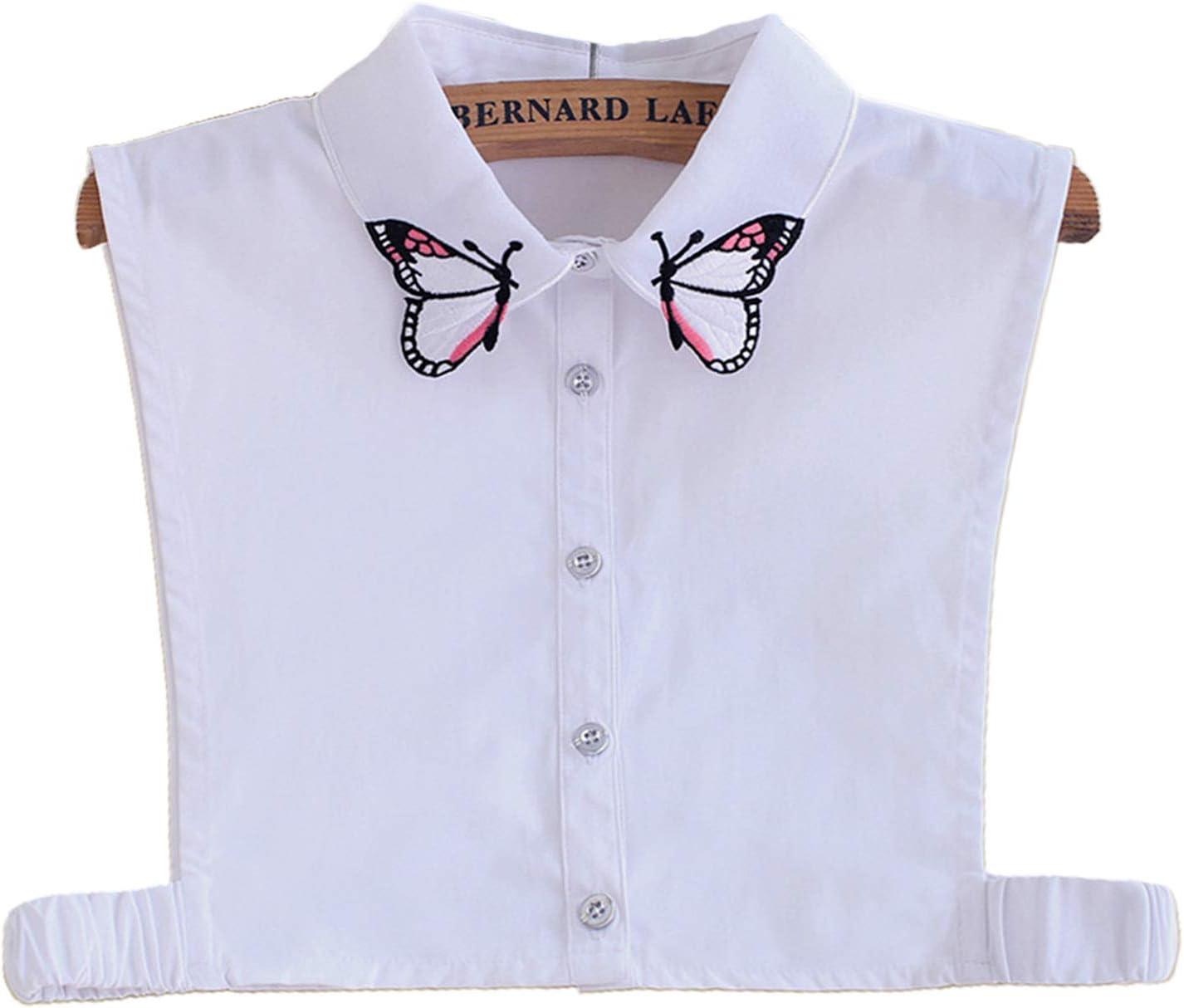 kdjsic Mujeres Elegante Colorido Mariposa Bordado Solapa Cuello Falso botón Desmontable Media Camisa Blusa Dickey