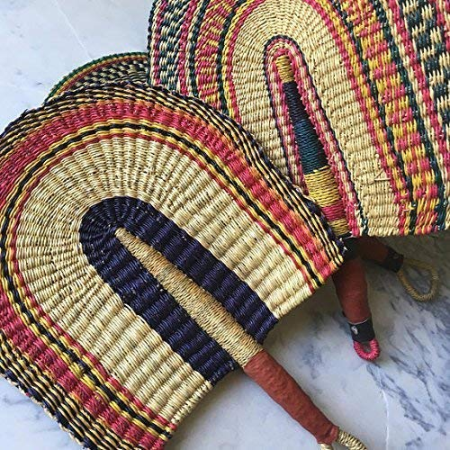 Vibrant African Fan with Leather - Africa Hand Woven Basket