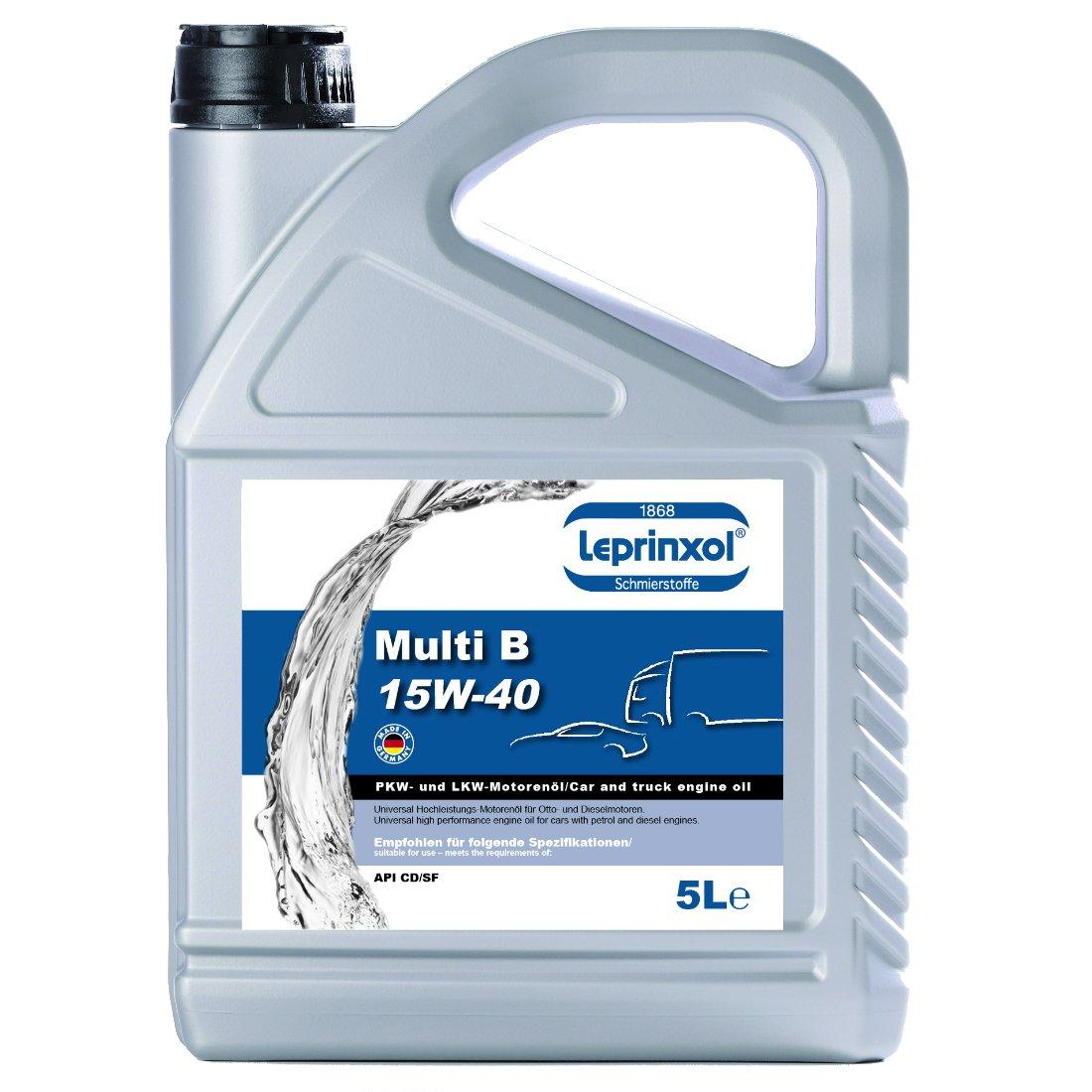 Aceite para motor, 5 litros 15W40, antifricción para motores de gasolina o diesel Leprinxol Multi, 15W-40, para uso todo el añoRecomendado para las ...