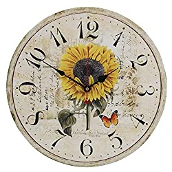 Old Oak 16-Inch Rustic Country Style Large Decorative Wall Clock Silent Non-Ticking Round for Kitchen Living Room Bathroom Bedroom Home Wall Decor with Sunflower