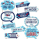 Big Dot of Happiness Funny Taking Flight - Airplane - Vintage Plane Baby Shower or Birthday Party Photo Booth Props Kit - 10 Piece