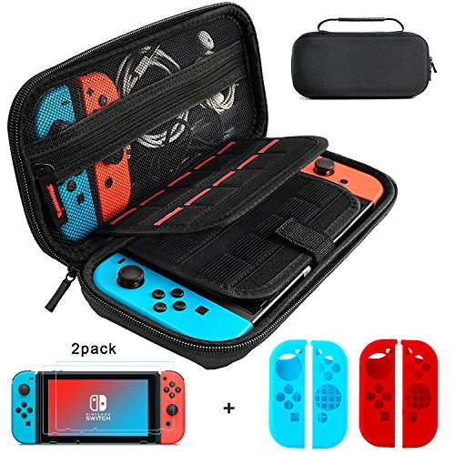 Cheap Nintendo Switch Case and Tempered Glass Screen Protector, Deluxe Hard Shell Travel Carrying Case with 20 Game Cartridge, 2pcs HD Screen Protector, 2 Pair Joy-Con Silicone Shell for Switch Console
