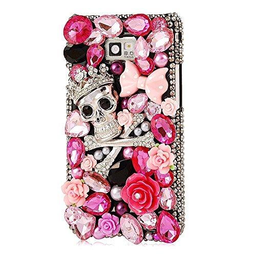 Evtech (tm) Caja del teléfono celular Negro Estilo de la contraportada del cráneo Corona de Plata Rosa Decoración Floral Flor Diamante Perlas Bowknot del Rhinestone del diamante de Bling Bling del bri