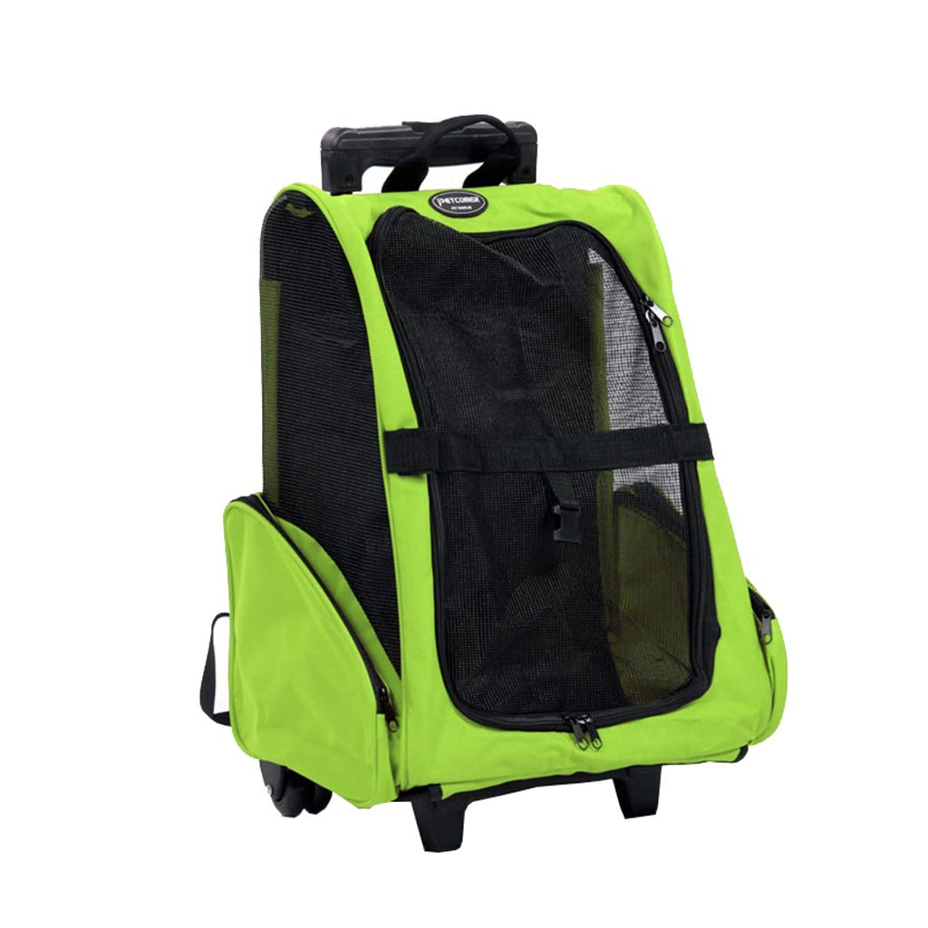Green Pet Travel Bag Pets Trolley Carrier Folding Pet Carrier Backpack Luxury Pet Bag Strollers (46cmX42cmX26cm)(Pets up to 16 Pounds) Hiking Camping (color   GREEN)