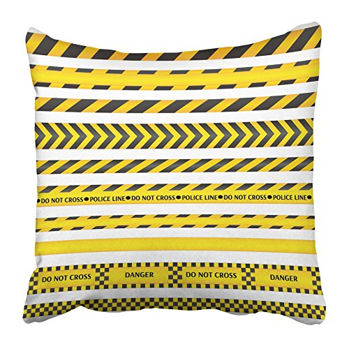 Emvency Throw Pillow Covers 18 x 18 Inches Construction Yellow with Black Police Line and Danger Tapes Area Zone Work Strip Pillow Case Decorative Cushion Cover Two Sides Print (Construction Zone Throw Pillow)