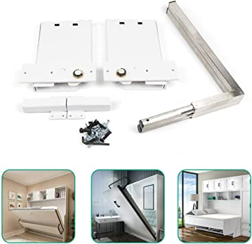 Vertical Happybuy DIY Murphy Bed Hardware Kit Vertical Mounting Wall Bed Springs Mechanism Heavy Duty Bed Support Hardware DIY Kit for King Queen Bed