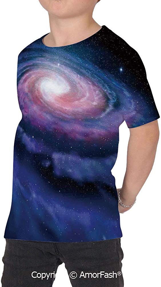 Galaxy Distinctive Childrens Premium Polyester T-Shirt,XS-2XL,Nebula in Outer S