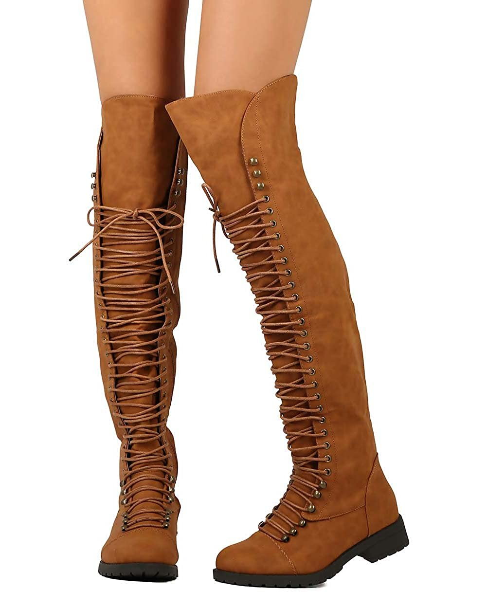 8daa638e7c8 Mark and maddux women leatherette thigh high lace up zip combat boot camel  boots jpg 1001x1251
