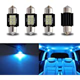 "iBrightstar Newest 9-30V Extremely Bright DE3175 DE3021 Festoon Error Free 1.25"" 31mm LED for Interior Map Dome Lights and License Plate Courtesy Lights, Ice Blue"