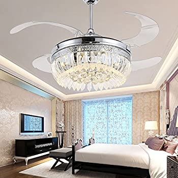 TiptonLight 42 Inch Ceiling Fans With LED Light Kits And Remote  Control,Contemporary Golden Crystal