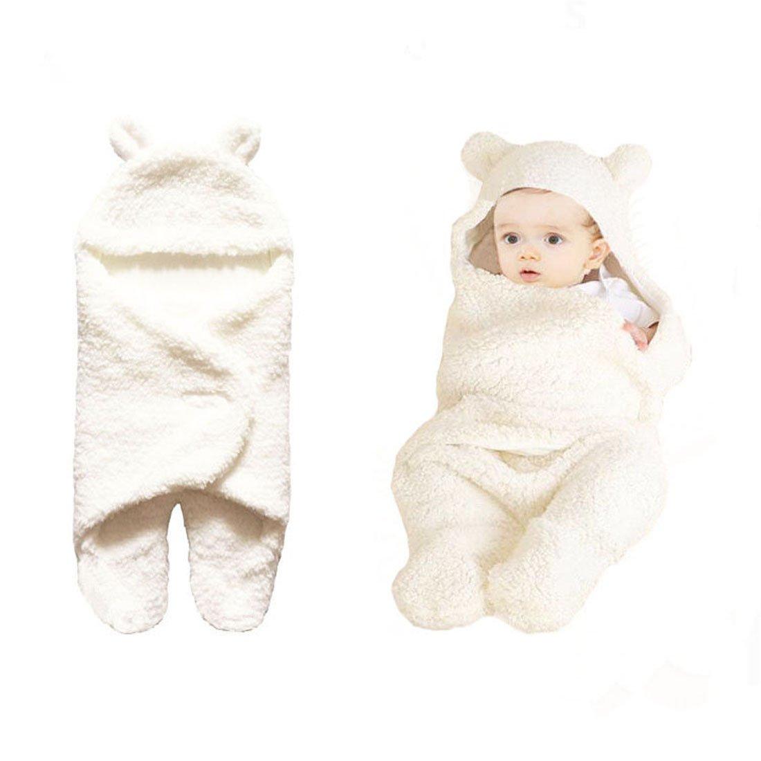 Wolmund Newborn Baby Boys Girls 0-12 Months Cute Cotton Receiving Sleeping Blanket Gift Soft Plush Wrap Swaddle White