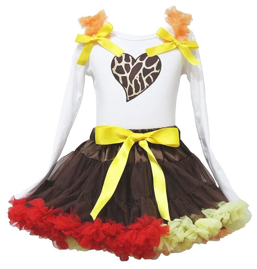 Petitebella Giraffe Heart White L//s Shirt Red Yellow Ruffle Skirt 1-8y