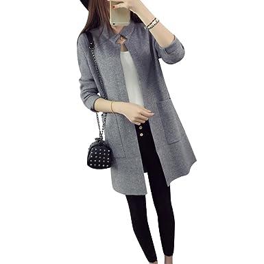 b927e5e9a414f1 CHENGYANG Damen Langarm Revers Strickmantel mit Taschen und Lange  Abschnitte Sweater Feinstrick-Cardigan Grau