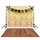 Funnytree 5X7ft Halloween Photography Backdrop Damask Wood Floor Background Flags Banner Kids Portrait Photoshoot Photo Studio Photobooth Props
