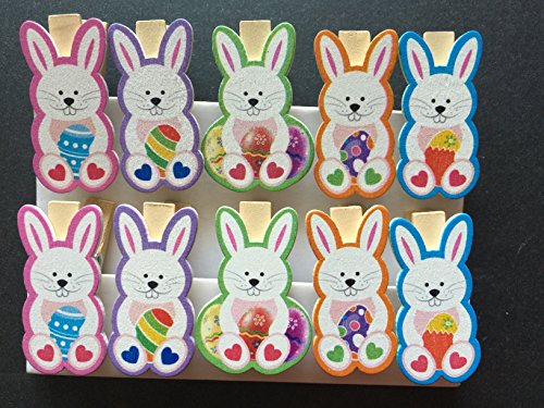 Easter Postcard Photo (Bunny Wooden Clothes Photo Paper Peg Pin Clothespin Craft Postcard Clips for Home Easter Party Favor 120pieces)