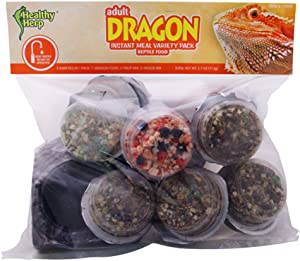 Healthy Herp Instant Meal Dragon Food Adult Variety Pack (7 x Adult Dragon Food, 4 x Fruit Mix, 3 x Vegi Mix, and 1 X Feeding Dish)