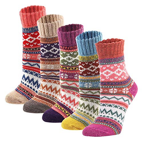 YZKKE 5Pack Womens Vintage Winter Soft Warm Thick Cold Knit Wool Crew Socks, Multicolor, free size (Christmas Ideas Womens)