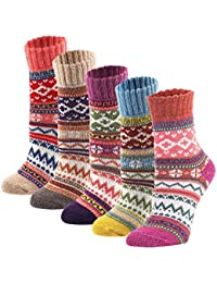 5Pack Womens Vintage Winter Soft Warm Thick Cold Knit Wool Crew Socks, Multicolor, free size