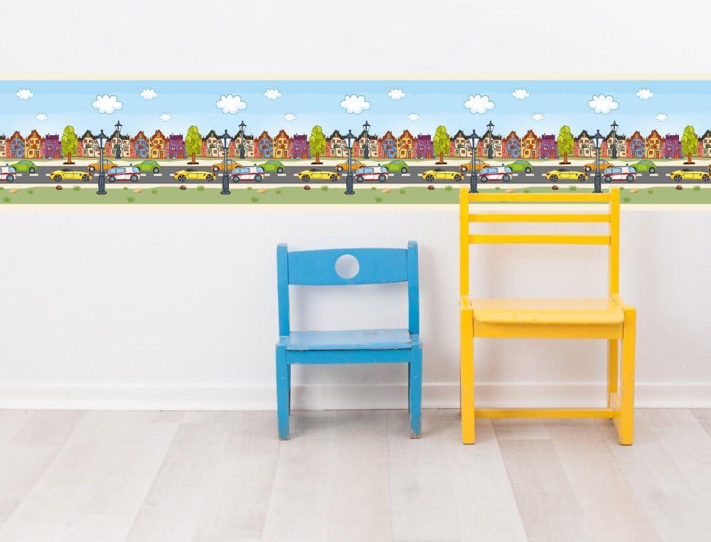 I-love-Wandtattoo Sticker mural B//02?009/Chambre Frise Route avec v/éhicules Enfant erdeko 5 m 15 cm; Breite H/öhe