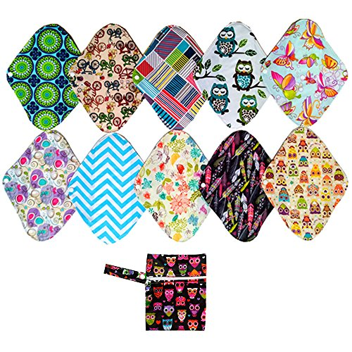 10PCS 12 Inch Heavy Charcoal Bamboo Mama Cloth/ Menstrual Pads/ Reusable Sanitary Pads + 1PC Wet Bag