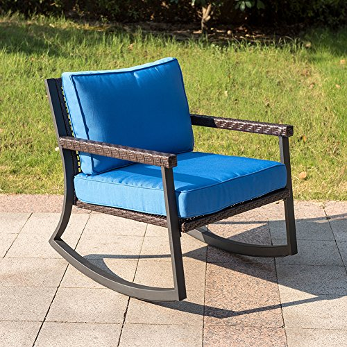Outdoor Patio Furniture Under 200: Sundale Outdoor Wicker Rocking Chair With Cushion Patio