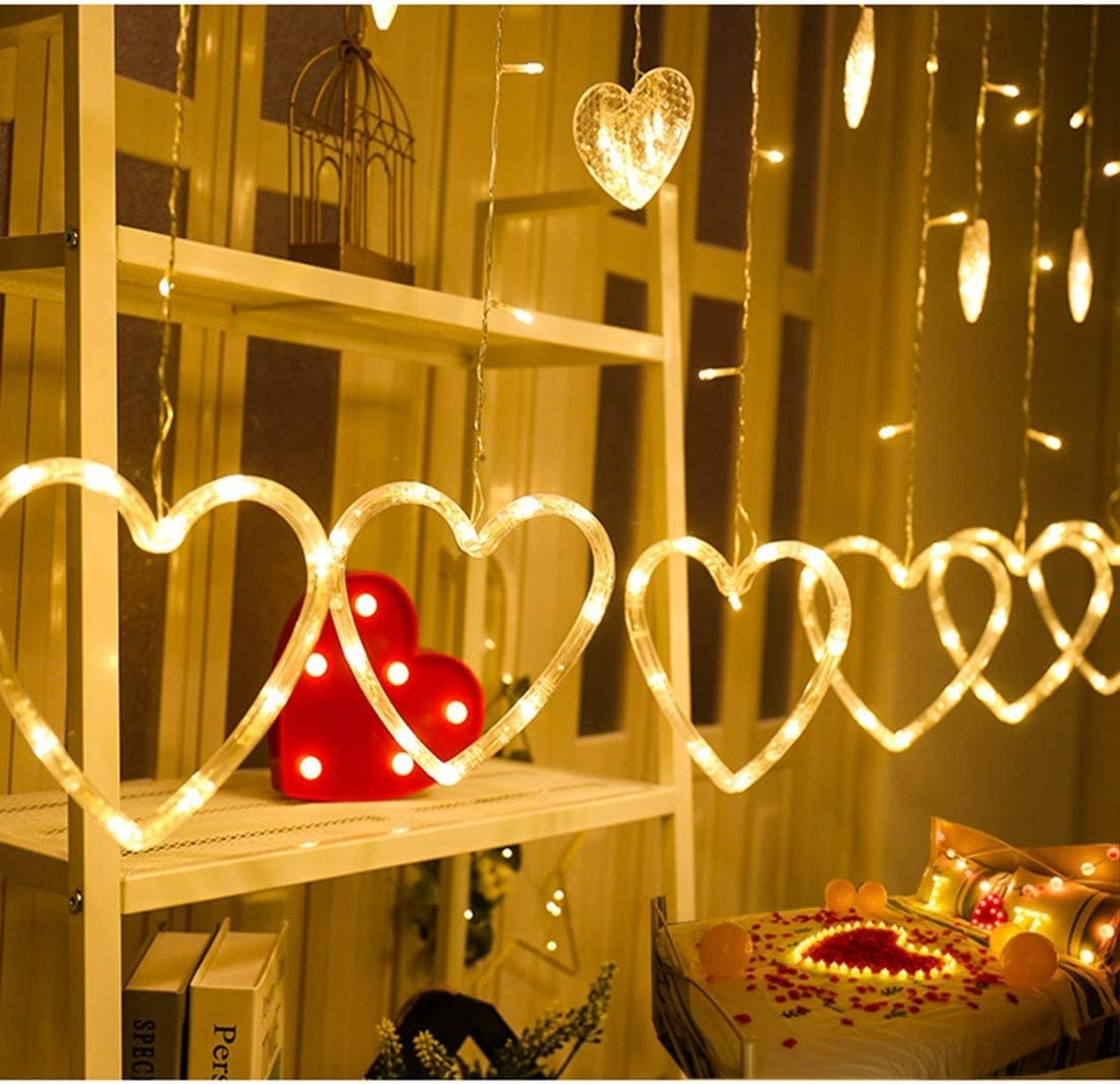 KiflyTooin Curtain Lights Upgrade,176 LED 15-Hearts Lights String,Connectable 8 Flashing Modes Heart Shaped Twinkle Fairy Lights,for Kids Bedroom Wedding Party Valentine's Day Mother's Day Decor