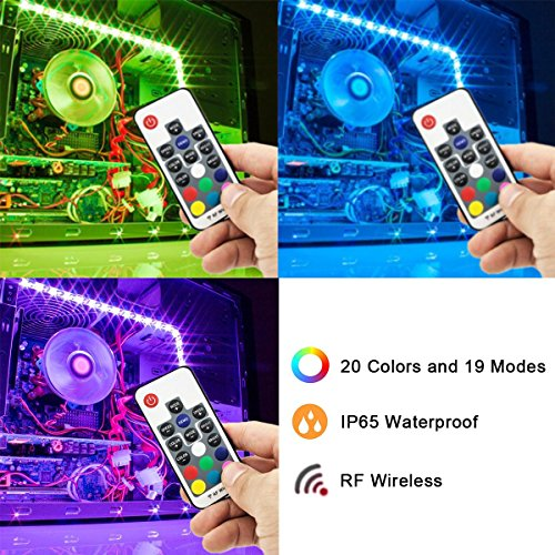 Super Bright Computer LED Strip Kit - Vibrant LED Computer Lighting LED Computer Lights - RGB Multi Color 2pcs 20inch LED Strip Light with Multi Function RF Remote for Desktop PC Computer Mid Tower by airgoo (Image #1)