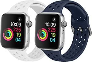 XFYELE Compatible with Apple Watch Band 42mm 44mm, Soft Breathable Sport Silicone Replacement Strap Compatible for iWatch Series 6, 5, 4, 3, 2, 1 for Women and Men (White & Dark Blue, 42mm/44mm)