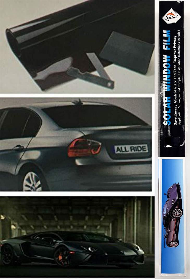 Shine ULTRA BLACK Car Van Limo Window Tint Film Reduce Sun Glare Universal Fit 3m x 50cm Kit SHINE UMBRELLA LIMITED