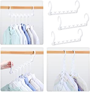 HOUSE DAY Sturdy Plastic Space Saving Hangers Cascading Hanger Organizer Pack of 20 Closet Space Saver Multifunctional Hangers for Heavy Clothes (White)
