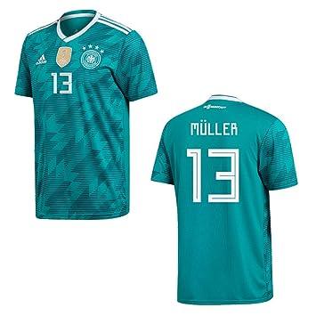Camiseta de fútbol Adidas Away para hombre, diseño de la selección alemana, del mundial 2018, Müller 13, large: Amazon.es: Deportes y aire libre
