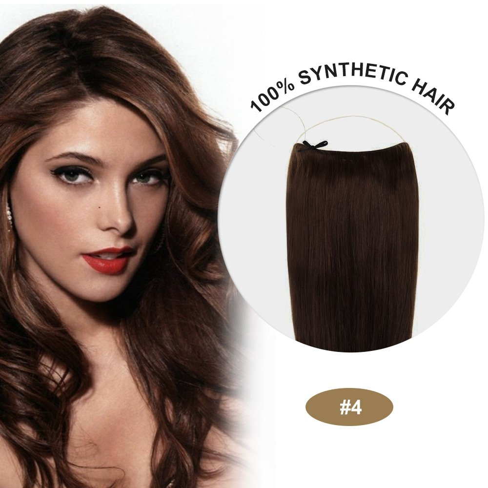 COCO Secret Extensions Synthetic Hair Extensions Straight Medium Brown (20 Inches)
