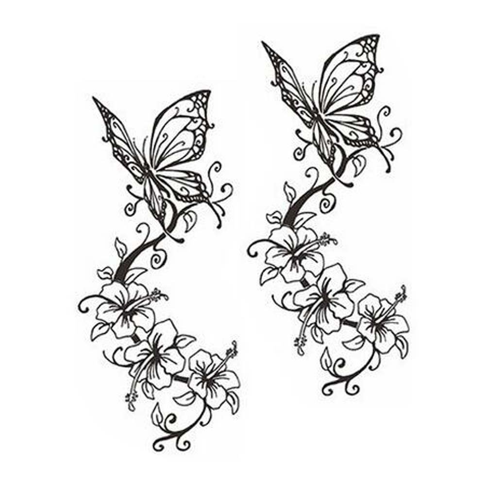 Amazon Com Butterfly Tattoos Stickers Fashion Tattoo Design Unisex Fake Body Tattoos Black Beauty